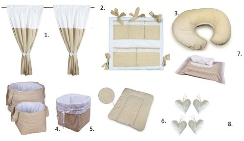 Baby's Room Decor Set - 8 Pieces Set - Beige Stripes with Lace Collection - Vizaro