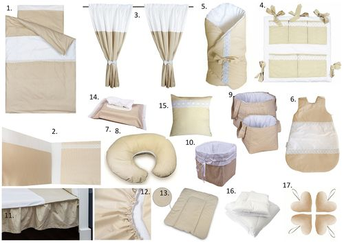 The Complete Baby Package Cot Bed - 19 Pieces Set - Beige Stripes with Lace Collection - Vizaro