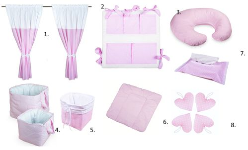 Baby's Room Decor Set - 8 Pieces Set - Pink & White Collection - Vizaro