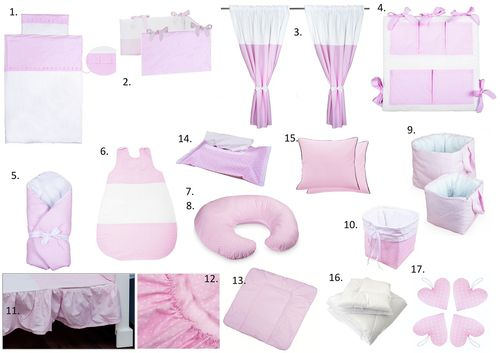 The Complete Baby Package Cot Bed - 19 Pieces Set - Pink & White Collection - Vizaro