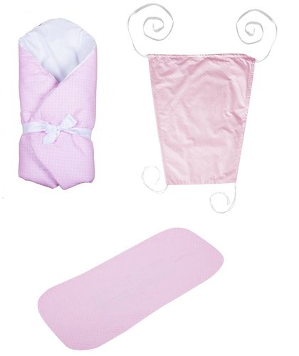Baby Pram Set- 3 Pieces Set - Pink & White Collection - Vizaro