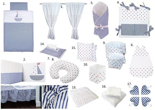 The Complete Baby Package Cot Bed - 19 Pieces Set - Little Sailing Boat Collection - Vizaro