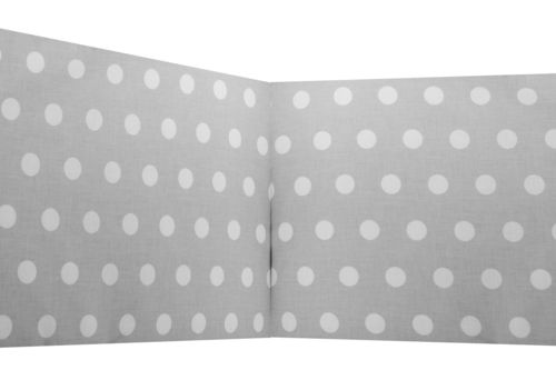 Padded Bumper Cot Bed - Polka Dots Collection - White & Grey - Vizaro