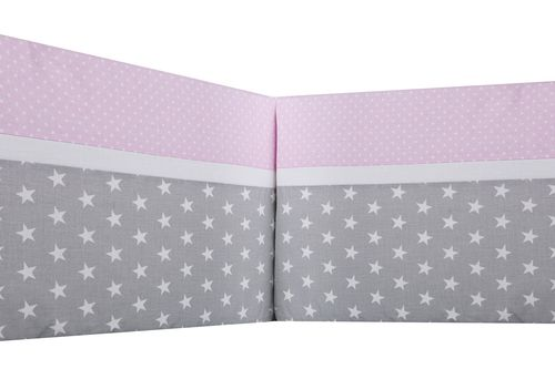 Padded Bumper Cot Bed - Polka Dots and Stars Collection - Vizaro