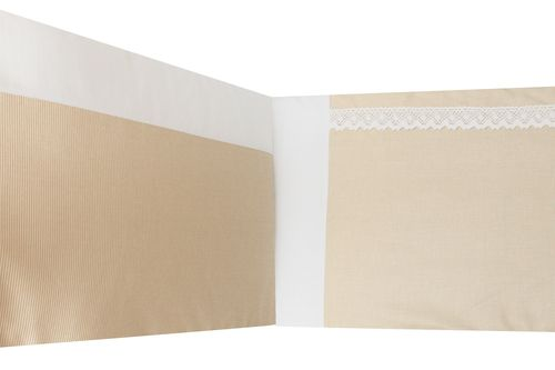 Padded Bumper Cot Bed - Beige Stripes with Lace Collection - Vizaro