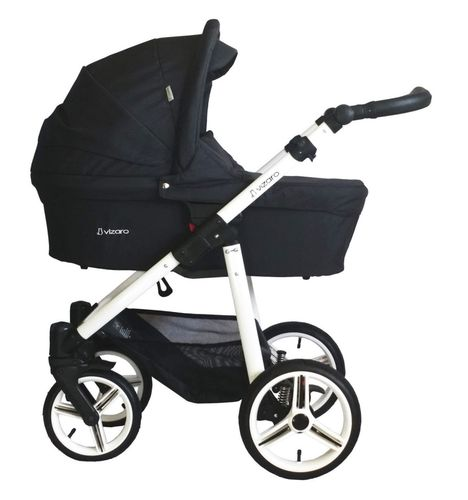 Vizaro Onyx - Black & White Chassis - 3 in 1 Travel System - Pram, Pushchair & Car Seat