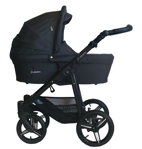 Vizaro Onyx - Black & Black Chassis - 3 in 1 Travel System - Pram, Pushchair & Car Seat