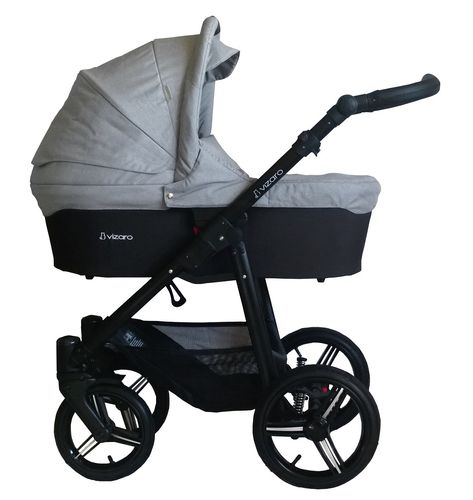 Vizaro Onyx - Light Grey & Black Chassis - 3 in 1 Travel System - Pram, Pushchair & Car Seat