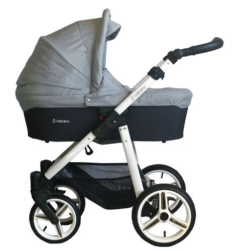 Vizaro Onyx - Light Grey & White Chassis - 3 in 1 Travel System - Pram, Pushchair & Car Seat