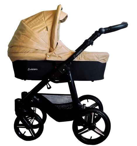 Vizaro Onyx - Beige & Black Chassis - 3 in 1 Travel System - Pram, Pushchair & Car Seat