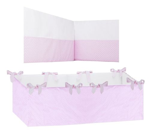 360° Padded Bumper Cot Bed - Pink & White Collection - Vizaro
