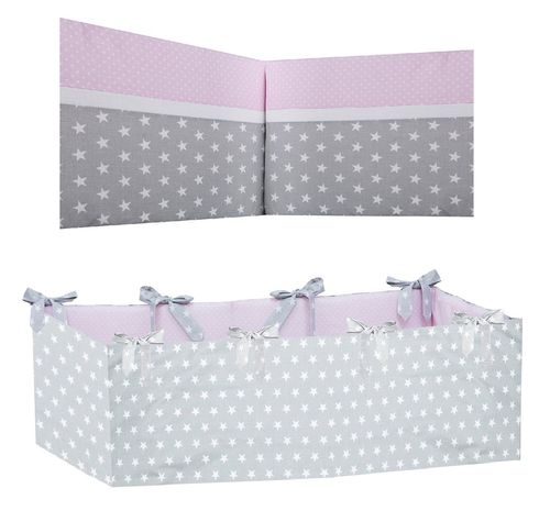 360° Padded Bumper Cot Bed - Polka Dots and Stars Collection - Vizaro