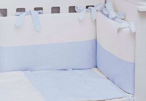 Cot Bed Bumper and Duvet Cover - 3 Pieces Set - Blue & White Collection - Vizaro