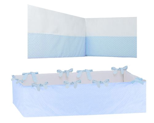 360° Padded Bumper Cot Bed - Blue & White Collection - Vizaro