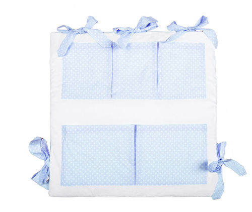 Pocket Cot Tidy (padded) - Blue & White Collection - Vizaro