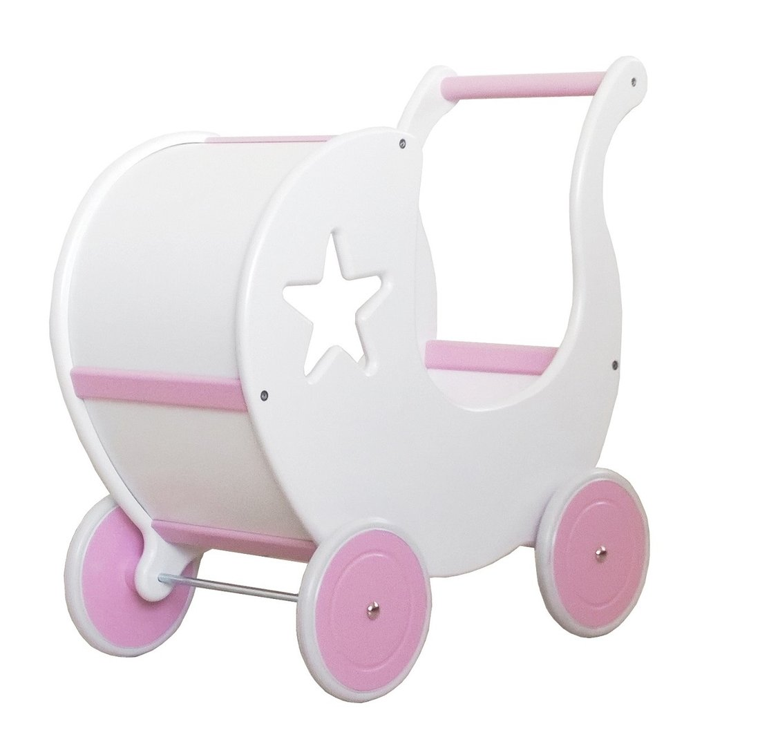 WOODEN DOLL PRAM with Bedding - Girl, age between 1 and 6 Vizaro