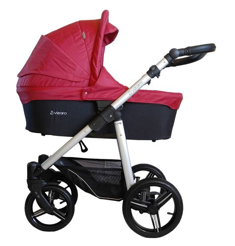 NEW! Vizaro Onyx - Red & Silver Chassis - 3 in 1 Travel System - Pram, Pushchair & Car Seat