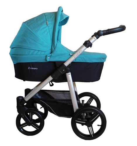 NEW! Vizaro Onyx - Turquoise & Silver Chassis - 2 in 1 Travel System - Pram & Pushchair
