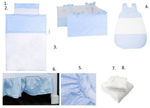 Complete Bedding Set for Cot Bed - 8 Pieces Set - Blue & White Collection - Vizaro