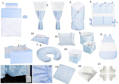 The Complete Baby Package Cot Bed - 19 Pieces Set - Blue & White Collection - Vizaro