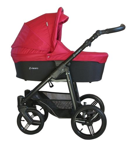 NEW! Vizaro Onyx - Red & Black Chassis - 3 in 1 Travel System - Pram, Pushchair & Car Seat
