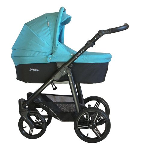 NEW! Vizaro Onyx - Turquoise & Negro Chassis - 3 in 1 Travel System - Pram, Pushchair & Car Seat