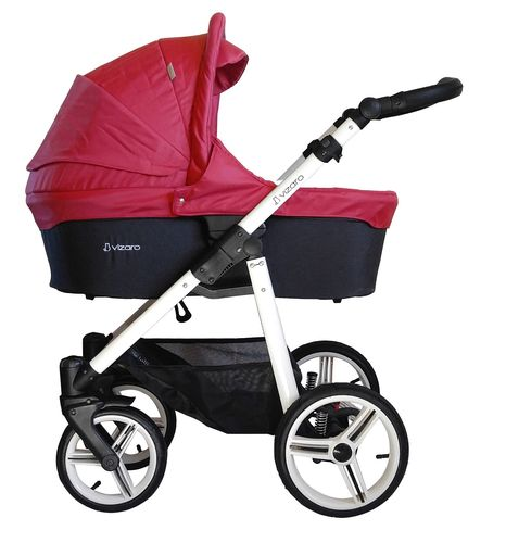 NEW! Vizaro Onyx - Red & White Chassis - 3 in 1 Travel System - Pram, Pushchair & Car Seat