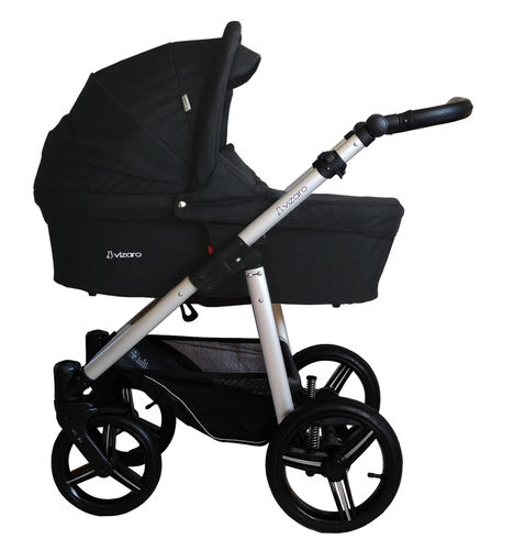 Vizaro Onyx - Black & Silver Chassis - 3 in 1 Travel System - Pram, Pushchair & Car Seat