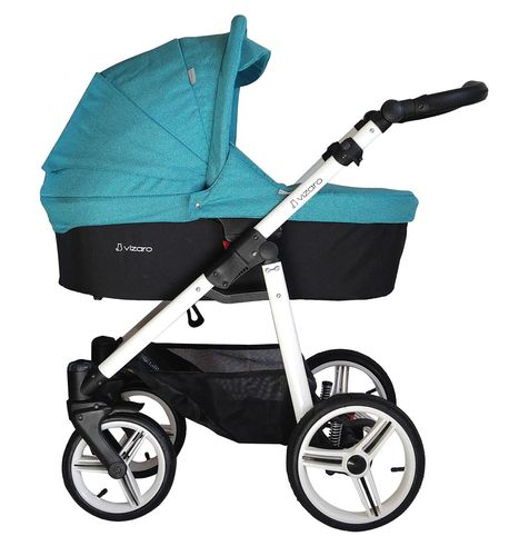 Vizaro Onyx - Turquoise & White Chassis - 3 in 1 Travel System - Pram, Pushchair & Car Seat