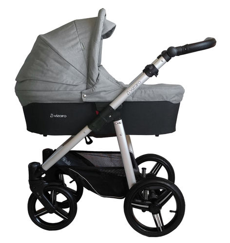 Vizaro Onyx - Light Grey & Silver Chassis - 3 in 1 Travel System - Pram, Pushchair & Car Seat