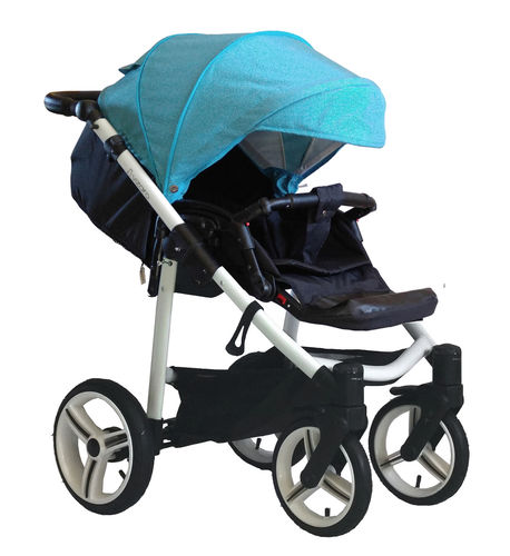 NEW! Vizaro Onyx - Turquoise & White Chassis - ONLY  Pushchair