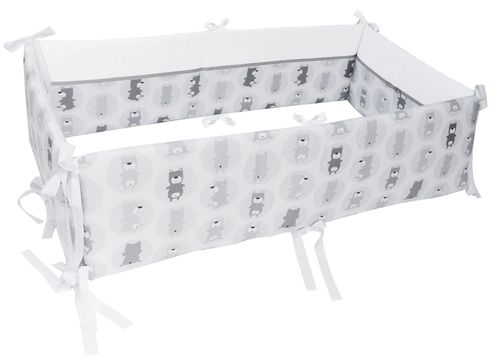 360° Padded Bumper for Co-sleeping Cot Bed - Grey Bears Collection - Vizaro