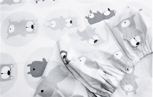 Fitted sheet for Cot - Grey Bears Collection